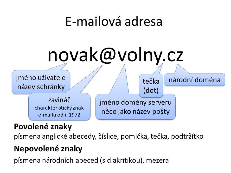 E-mailová adresa novak@volny.cz Povolené znaky písmena anglické abecedy, číslice, pomlčka, tečka, podtržítko Nepovolené znaky písmena národních abeced