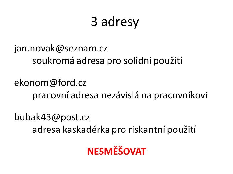 3 adresy jan.novak@seznam.cz soukromá adresa pro solidní použití ekonom@ford.cz pracovní adresa nezávislá na pracovníkovi bubak43@post.cz adresa kaska