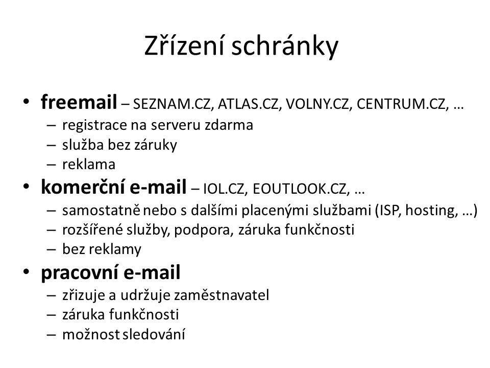 Zřízení schránky freemail – SEZNAM.CZ, ATLAS.CZ, VOLNY.CZ, CENTRUM.CZ, … – registrace na serveru zdarma – služba bez záruky – reklama komerční e-mail
