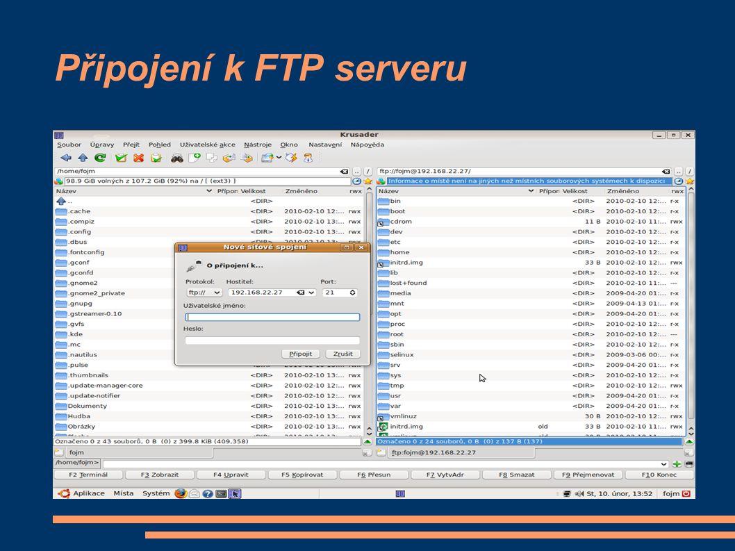 Připojení k FTP serveru