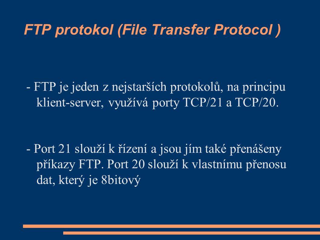 FTP protokol (File Transfer Protocol ) - FTP je jeden z nejstarších protokolů, na principu klient-server, využívá porty TCP/21 a TCP/20.