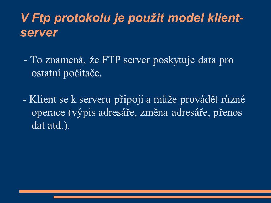 V Ftp protokolu je použit model klient- server - To znamená, že FTP server poskytuje data pro ostatní počítače.