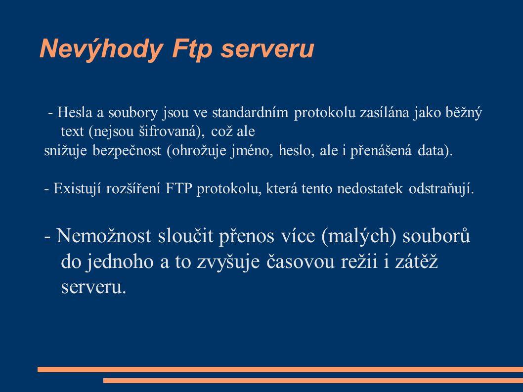 Standardní porty Ftp serveru - FTP server běžně pracuje na dvou portech, 21 a 20 a běží výhradně přes TCP (Transmission control protocol).