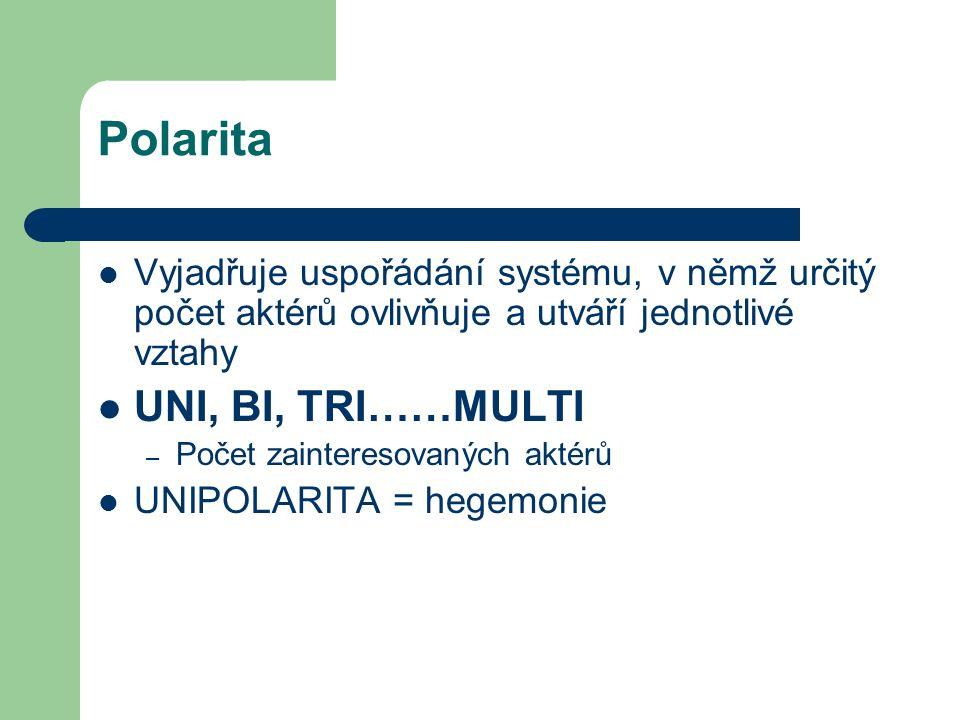 Polarita Vyjadřuje uspořádání systému, v němž určitý počet aktérů ovlivňuje a utváří jednotlivé vztahy UNI, BI, TRI……MULTI – Počet zainteresovaných aktérů UNIPOLARITA = hegemonie