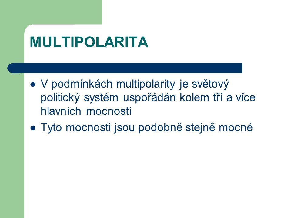 MULTIPOLARITA V podmínkách multipolarity je světový politický systém uspořádán kolem tří a více hlavních mocností Tyto mocnosti jsou podobně stejně mo