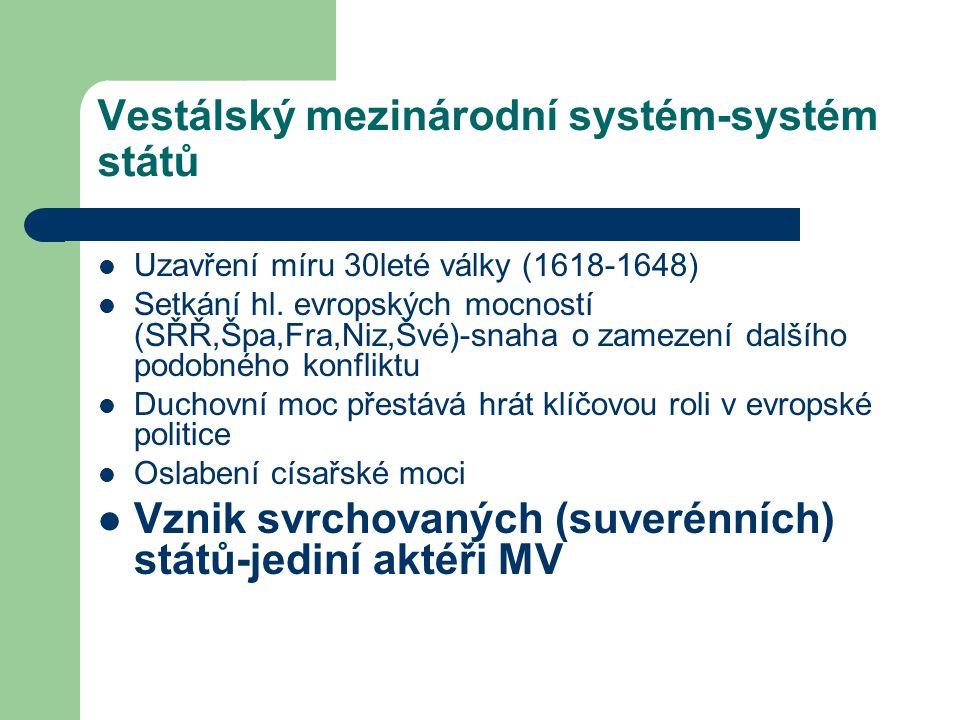 Vestálský mezinárodní systém-systém států Uzavření míru 30leté války (1618-1648) Setkání hl. evropských mocností (SŘŘ,Špa,Fra,Niz,Švé)-snaha o zamezen