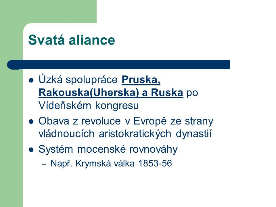 Svatá aliance Úzká spolupráce Pruska, Rakouska(Uherska) a Ruska po Vídeňském kongresu Obava z revoluce v Evropě ze strany vládnoucích aristokratických dynastií Systém mocenské rovnováhy – Např.