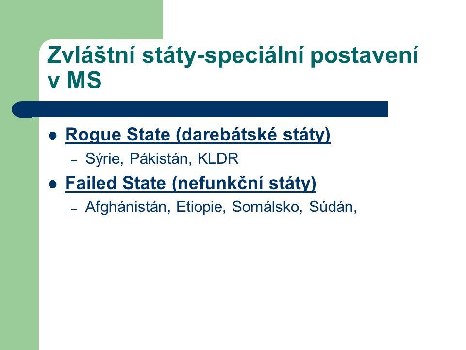 Zvláštní státy-speciální postavení v MS Rogue State (darebátské státy) – Sýrie, Pákistán, KLDR Failed State (nefunkční státy) – Afghánistán, Etiopie,