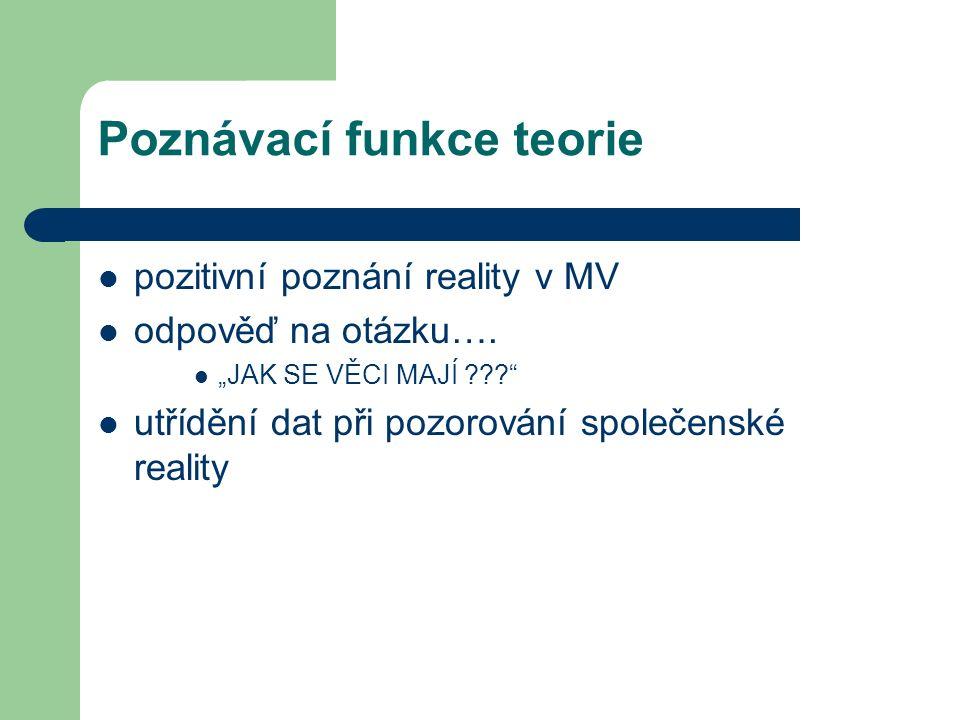 Poznávací funkce teorie pozitivní poznání reality v MV odpověď na otázku….