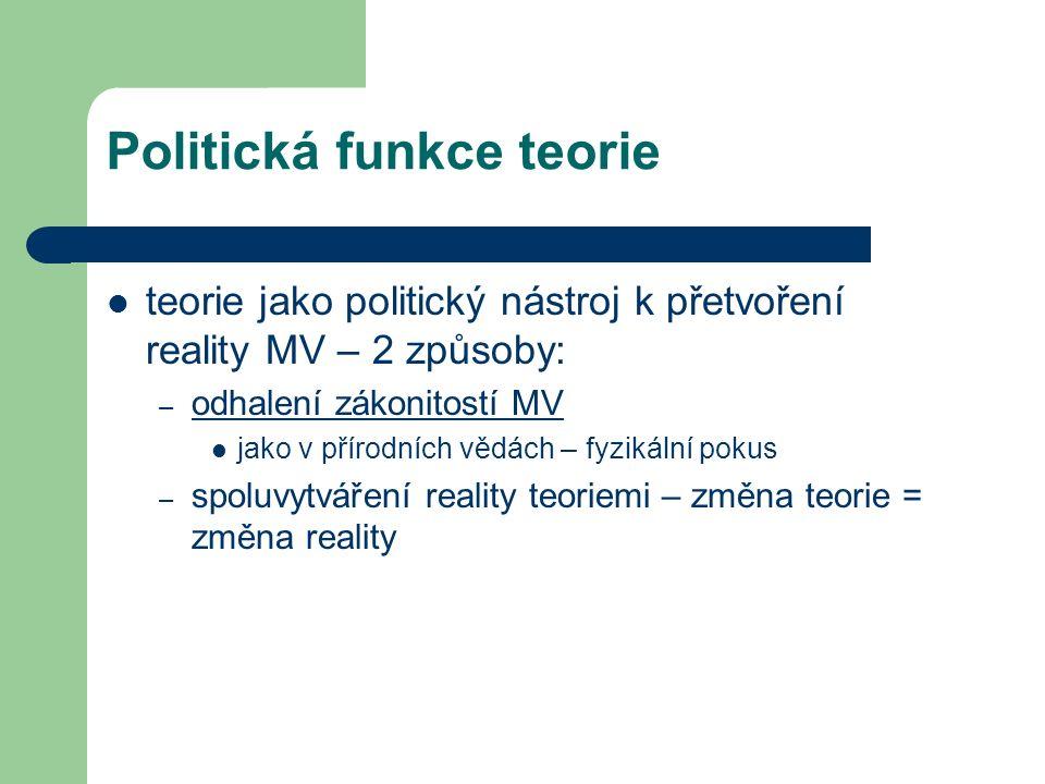 Politická funkce teorie teorie jako politický nástroj k přetvoření reality MV – 2 způsoby: – odhalení zákonitostí MV jako v přírodních vědách – fyzikální pokus – spoluvytváření reality teoriemi – změna teorie = změna reality