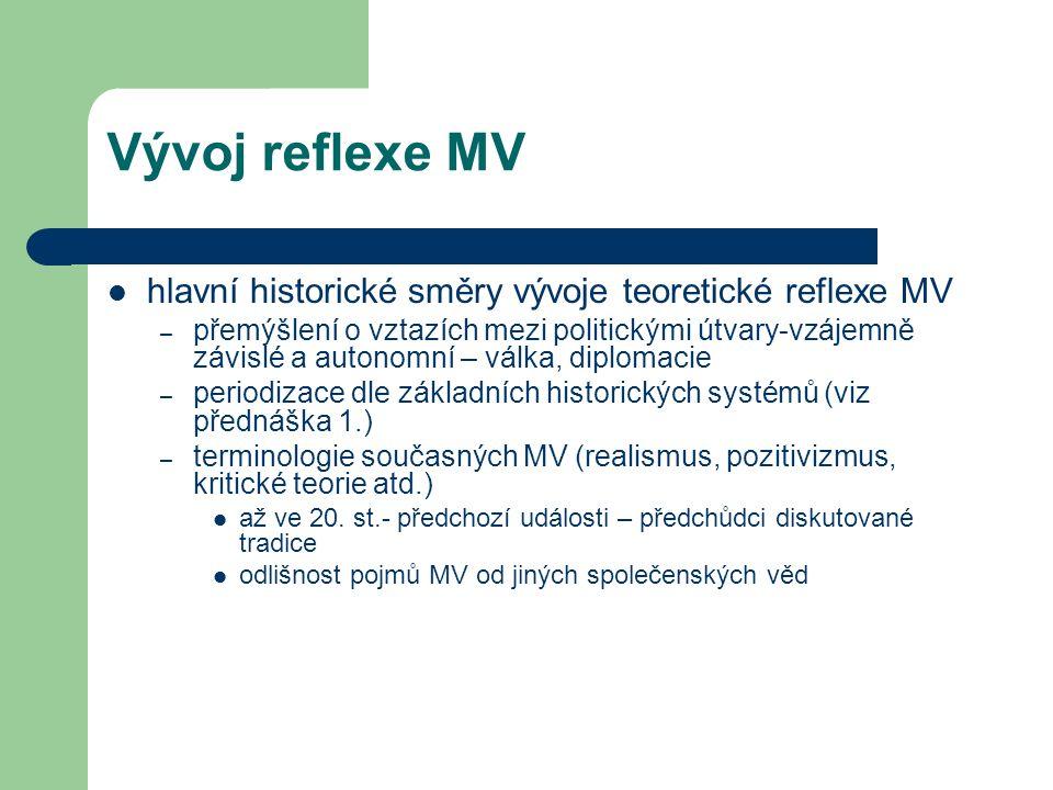 Vývoj reflexe MV hlavní historické směry vývoje teoretické reflexe MV – přemýšlení o vztazích mezi politickými útvary-vzájemně závislé a autonomní – v