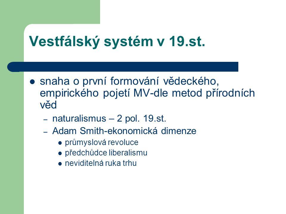 Vestfálský systém v 19.st. snaha o první formování vědeckého, empirického pojetí MV-dle metod přírodních věd – naturalismus – 2 pol. 19.st. – Adam Smi