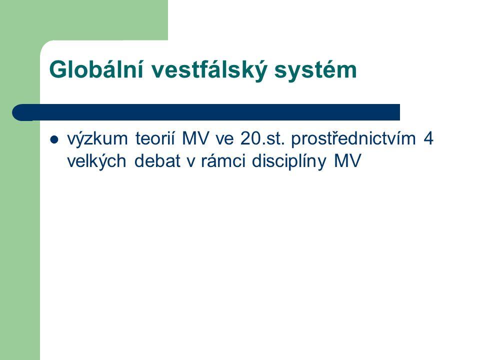 Globální vestfálský systém výzkum teorií MV ve 20.st. prostřednictvím 4 velkých debat v rámci disciplíny MV