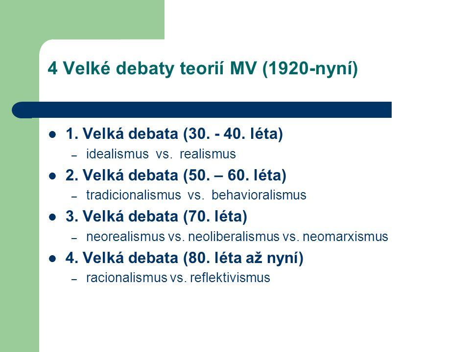4 Velké debaty teorií MV (1920-nyní) 1. Velká debata (30. - 40. léta) – idealismus vs. realismus 2. Velká debata (50. – 60. léta) – tradicionalismus v