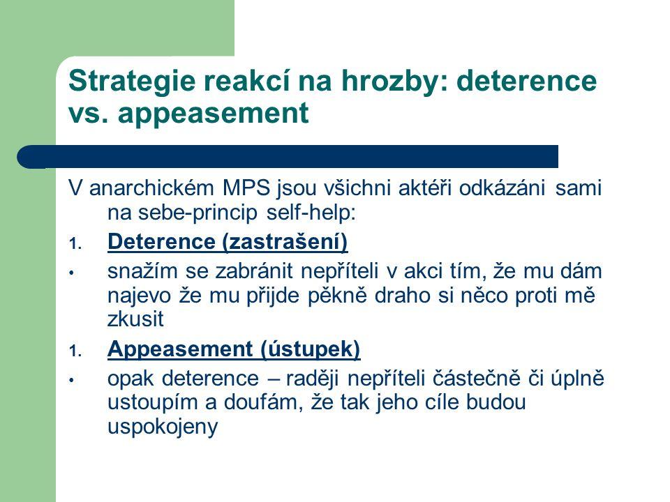 Strategie reakcí na hrozby: deterence vs. appeasement V anarchickém MPS jsou všichni aktéři odkázáni sami na sebe-princip self-help: 1. Deterence (zas