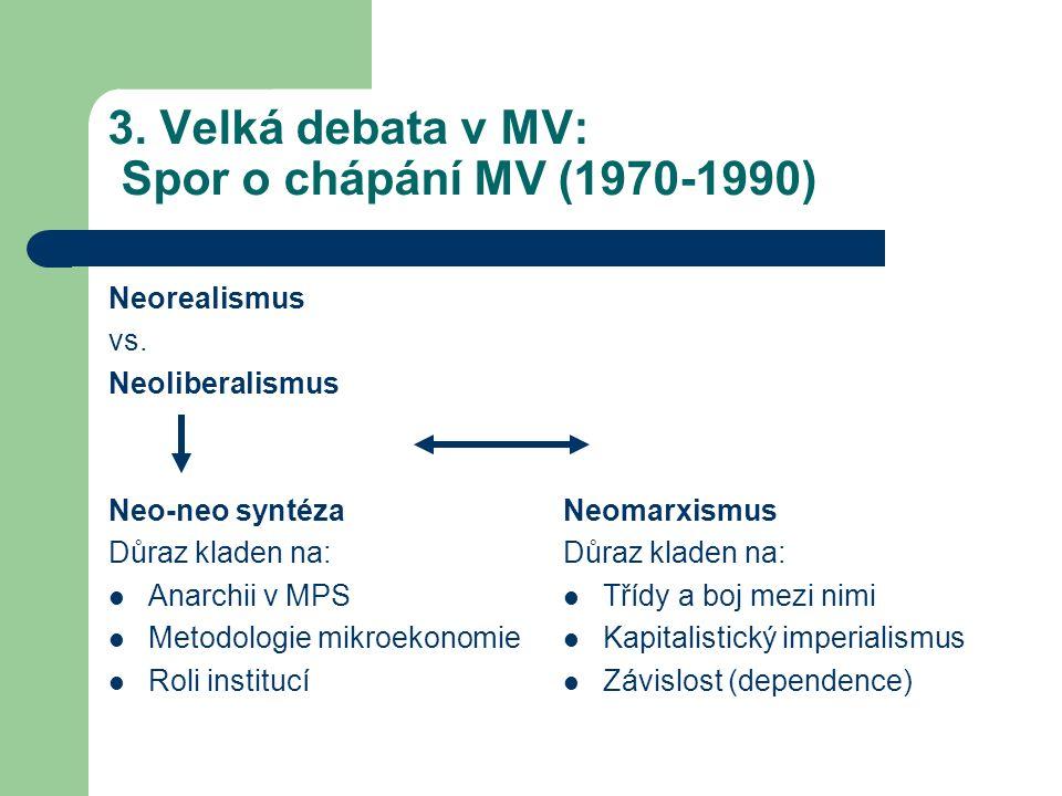 3. Velká debata v MV: Spor o chápání MV (1970-1990) Neorealismus vs.