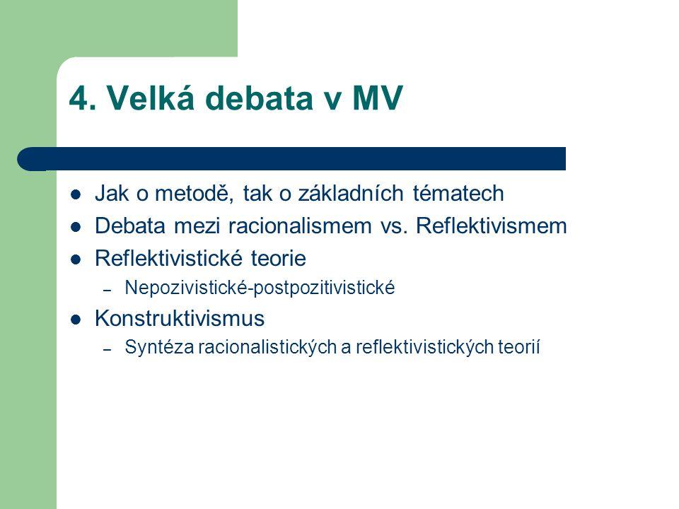 4. Velká debata v MV Jak o metodě, tak o základních tématech Debata mezi racionalismem vs.
