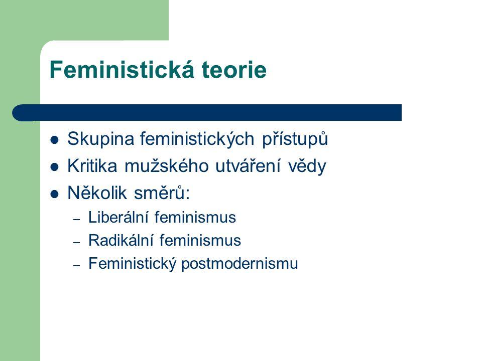 Feministická teorie Skupina feministických přístupů Kritika mužského utváření vědy Několik směrů: – Liberální feminismus – Radikální feminismus – Femi