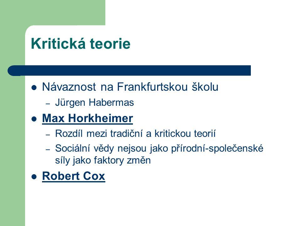 Kritická teorie Návaznost na Frankfurtskou školu – Jürgen Habermas Max Horkheimer – Rozdíl mezi tradiční a kritickou teorií – Sociální vědy nejsou jako přírodní-společenské síly jako faktory změn Robert Cox