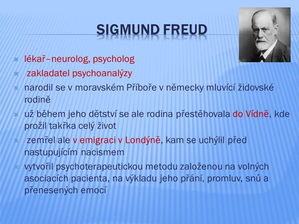  lékař–neurolog, psycholog  zakladatel psychoanalýzy  narodil se v moravském Příboře v německy mluvící židovské rodině  už během jeho dětství se a