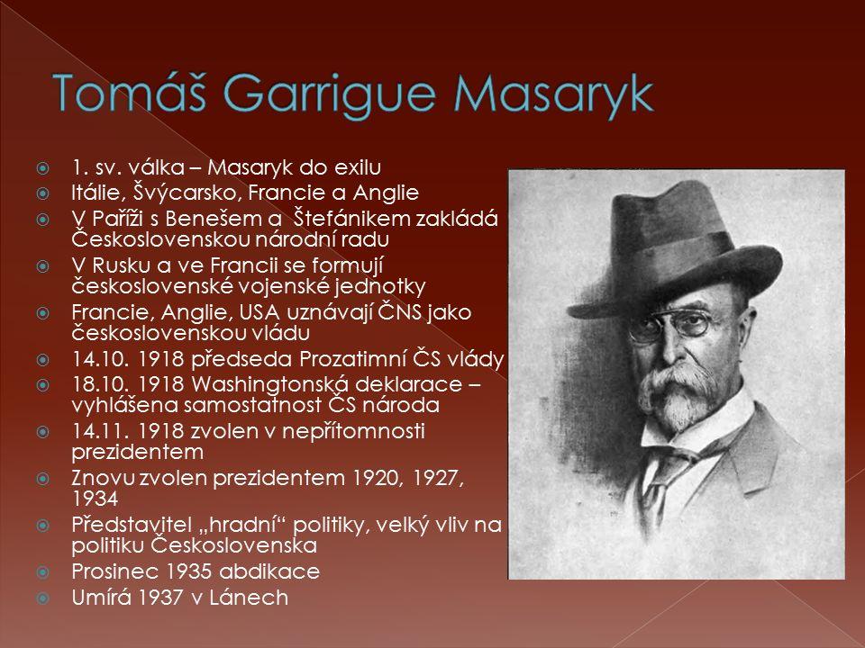  1. sv. válka – Masaryk do exilu  Itálie, Švýcarsko, Francie a Anglie  V Paříži s Benešem a Štefánikem zakládá Československou národní radu  V Rus