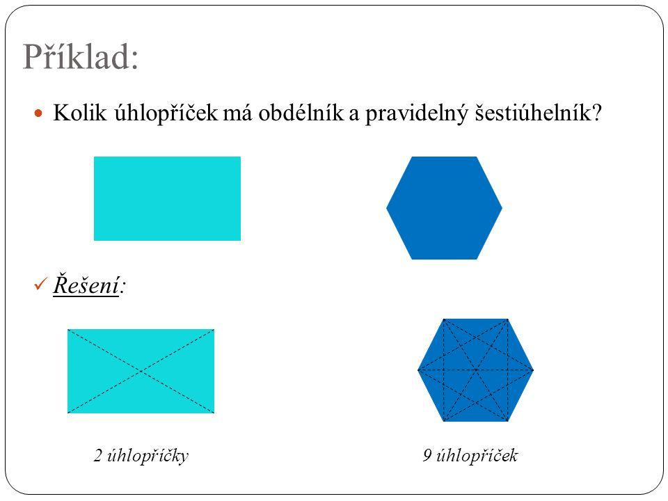 Příklad: Kolik úhlopříček má obdélník a pravidelný šestiúhelník Řešení: 2 úhlopříčky 9 úhlopříček