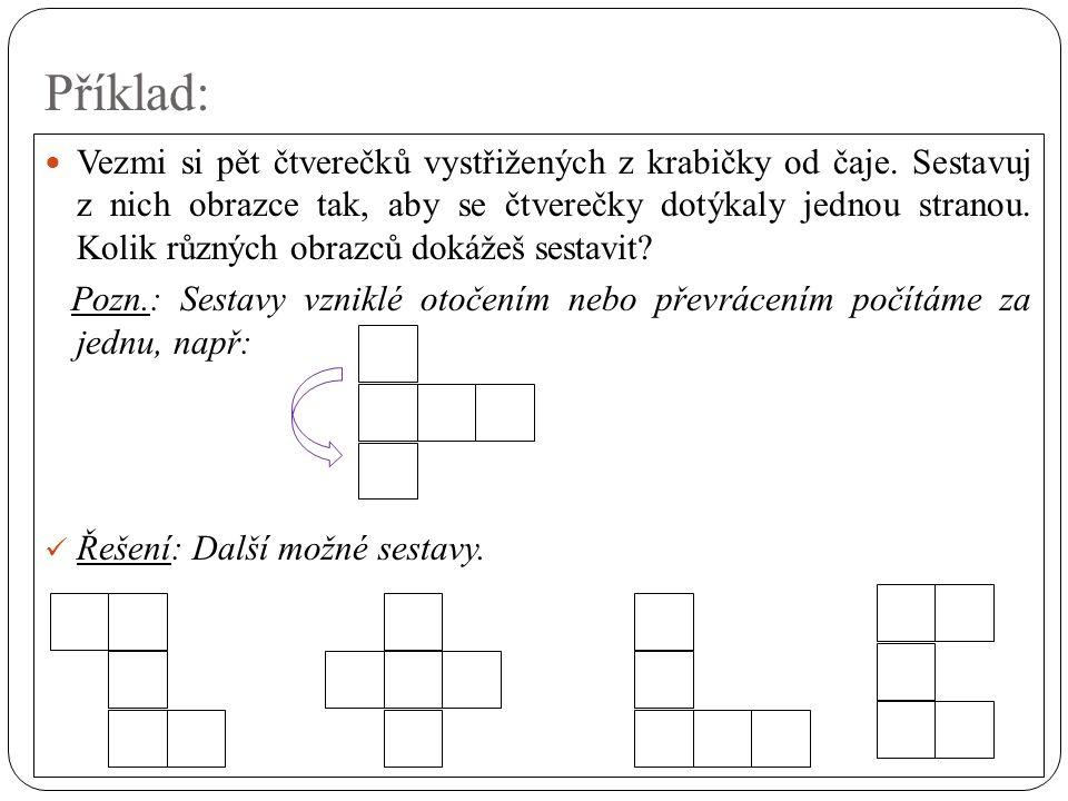 Příklad: Vezmi si pět čtverečků vystřižených z krabičky od čaje.