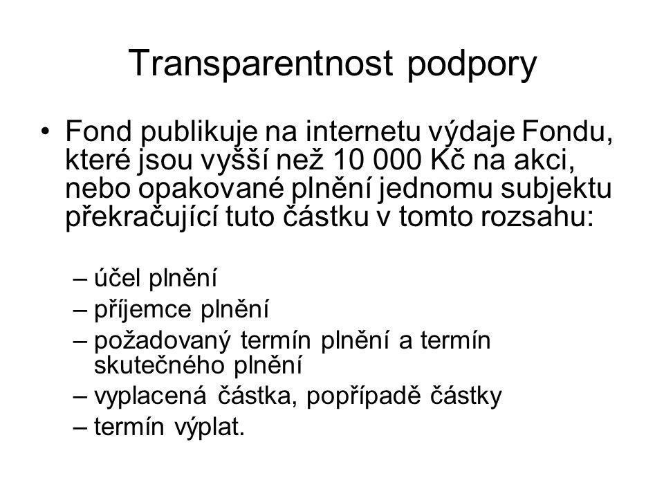 Transparentnost podpory Fond publikuje na internetu výdaje Fondu, které jsou vyšší než 10 000 Kč na akci, nebo opakované plnění jednomu subjektu překr
