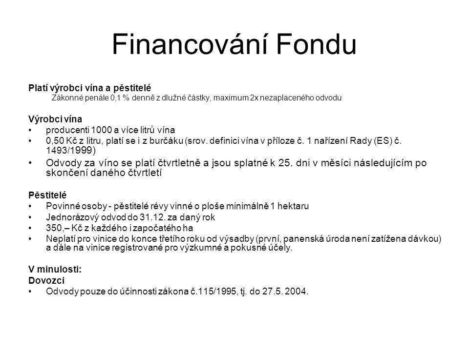 Financování Fondu Platí výrobci vína a pěstitelé Zákonné penále 0,1 % denně z dlužné částky, maximum 2x nezaplaceného odvodu Výrobci vína producenti 1