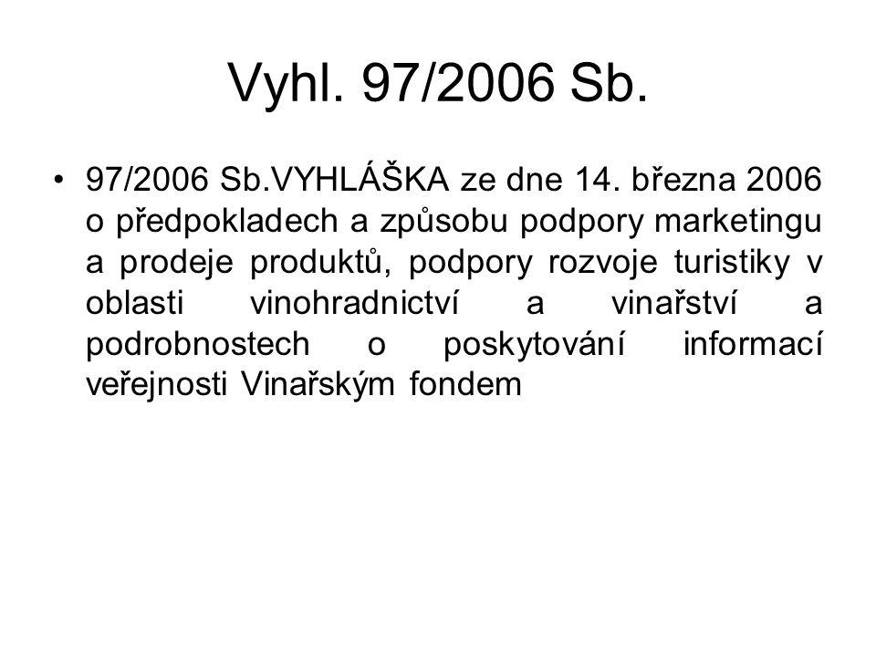 Vyhl. 97/2006 Sb. 97/2006 Sb.VYHLÁŠKA ze dne 14. března 2006 o předpokladech a způsobu podpory marketingu a prodeje produktů, podpory rozvoje turistik