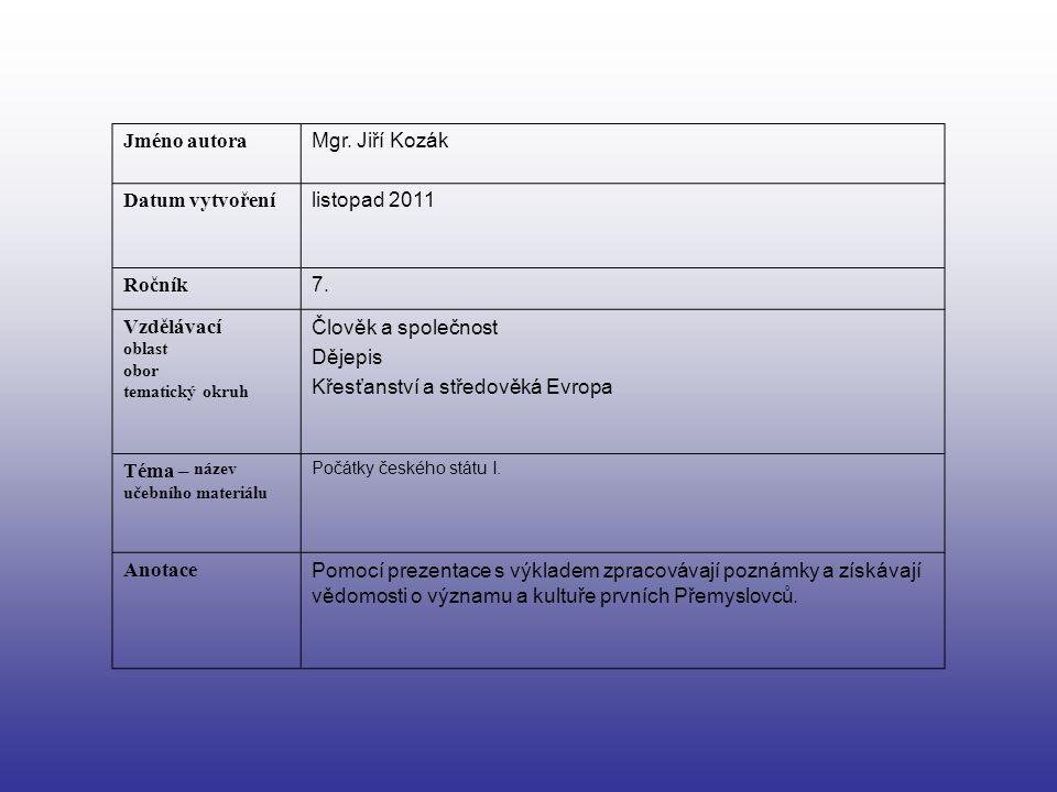 Jméno autora Mgr. Jiří Kozák Datum vytvoření listopad 2011 Ročník 7. Vzdělávací oblast obor tematický okruh Člověk a společnost Dějepis Křesťanství a