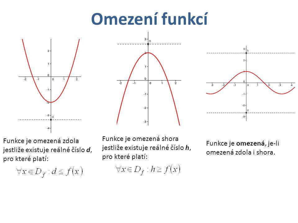 Omezení funkcí Funkce je omezená zdola jestliže existuje reálné číslo d, pro které platí: Funkce je omezená shora jestliže existuje reálné číslo h, pro které platí: Funkce je omezená, je-li omezená zdola i shora.