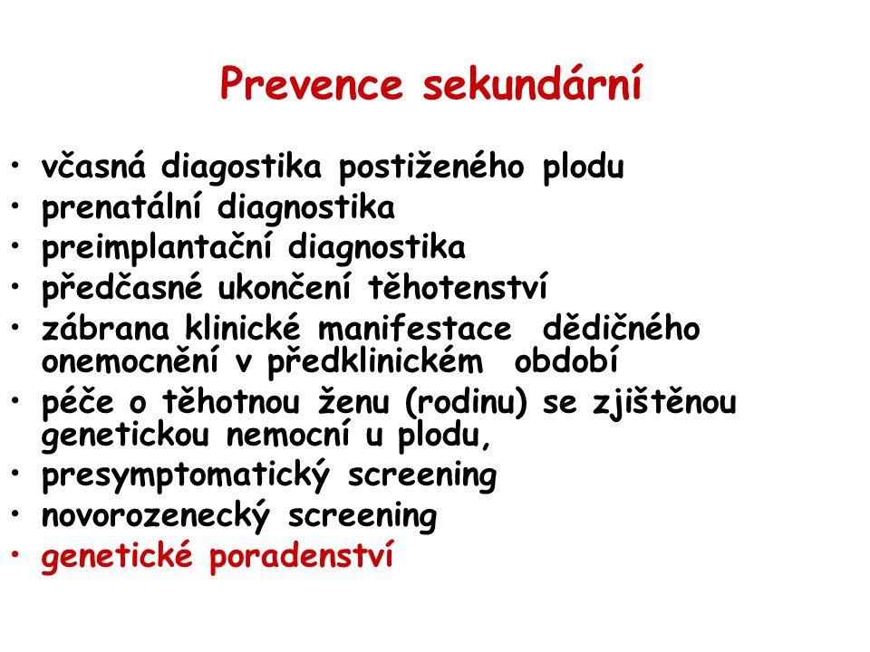 Prevence sekundární včasná diagostika postiženého plodu prenatální diagnostika preimplantační diagnostika předčasné ukončení těhotenství zábrana klinické manifestace dědičného onemocnění v předklinickém období péče o těhotnou ženu (rodinu) se zjištěnou genetickou nemocní u plodu, presymptomatický screening novorozenecký screening genetické poradenství