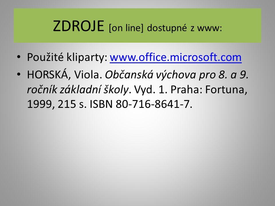 ZDROJE [on line] dostupné z www: Použité kliparty: www.office.microsoft.comwww.office.microsoft.com HORSKÁ, Viola. Občanská výchova pro 8. a 9. ročník
