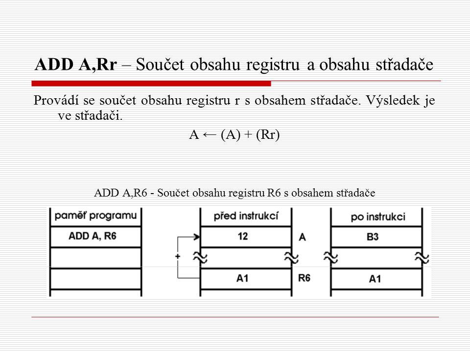 ADD A,Rr – Součet obsahu registru a obsahu střadače Provádí se součet obsahu registru r s obsahem střadače.