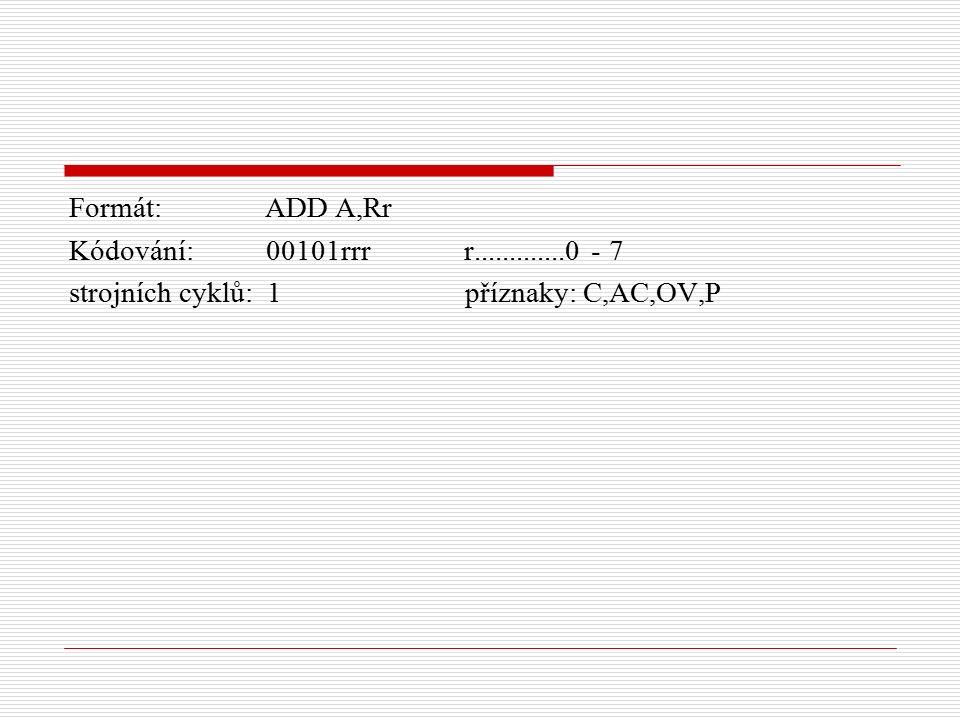 Formát: ADD A,Rr Kódování: 00101rrr r.............0 - 7 strojních cyklů: 1 příznaky: C,AC,OV,P