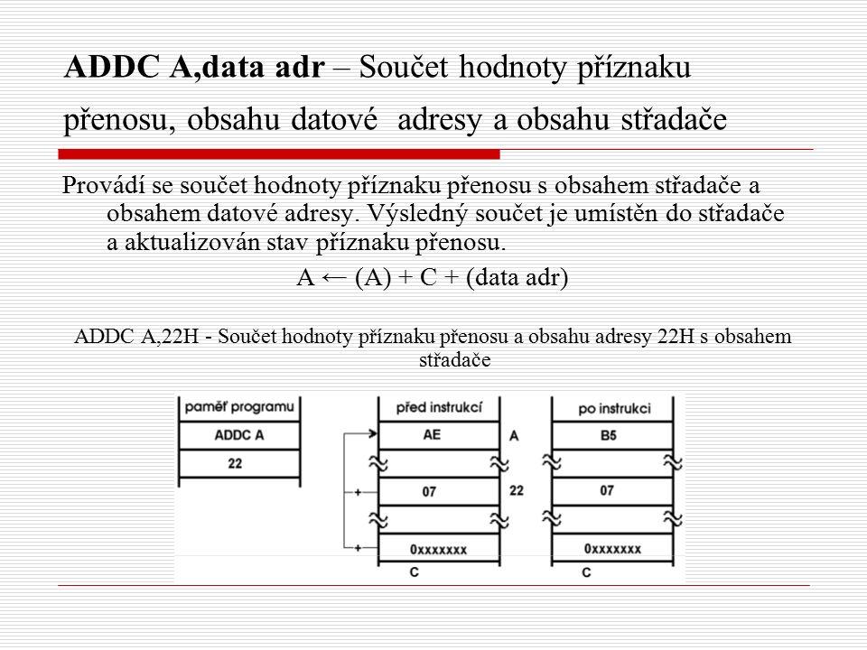 ADDC A,data adr – Součet hodnoty příznaku přenosu, obsahu datové adresy a obsahu střadače Provádí se součet hodnoty příznaku přenosu s obsahem střadače a obsahem datové adresy.