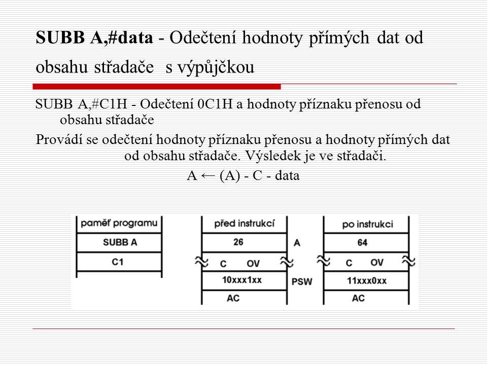 SUBB A,#data - Odečtení hodnoty přímých dat od obsahu střadače s výpůjčkou SUBB A,#C1H - Odečtení 0C1H a hodnoty příznaku přenosu od obsahu střadače Provádí se odečtení hodnoty příznaku přenosu a hodnoty přímých dat od obsahu střadače.