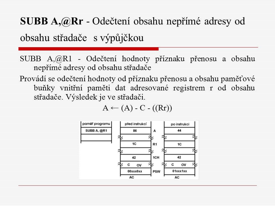 SUBB A,@Rr - Odečtení obsahu nepřímé adresy od obsahu střadače s výpůjčkou SUBB A,@R1 - Odečtení hodnoty příznaku přenosu a obsahu nepřímé adresy od obsahu střadače Provádí se odečtení hodnoty od příznaku přenosu a obsahu paměťové buňky vnitřní paměti dat adresované registrem r od obsahu střadače.