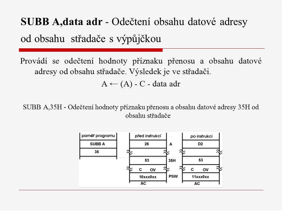 SUBB A,data adr - Odečtení obsahu datové adresy od obsahu střadače s výpůjčkou Provádí se odečtení hodnoty příznaku přenosu a obsahu datové adresy od obsahu střadače.