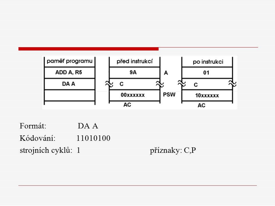 Formát: DA A Kódování: 11010100 strojních cyklů: 1 příznaky: C,P