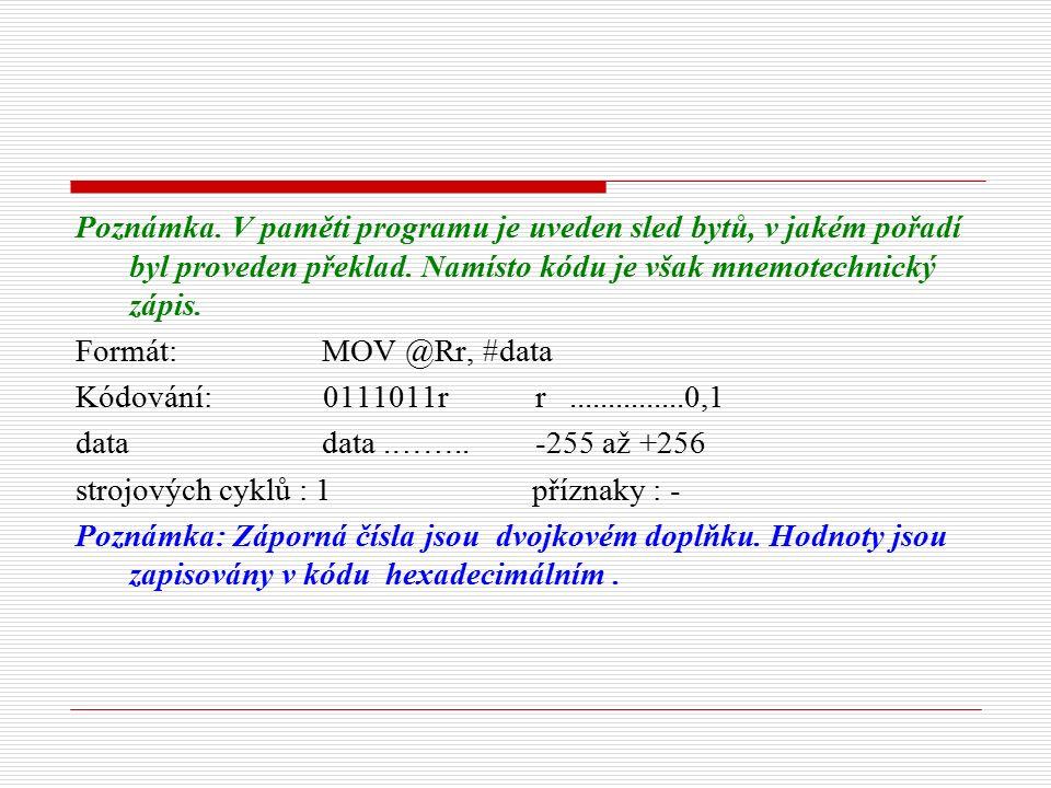 Poznámka. V paměti programu je uveden sled bytů, v jakém pořadí byl proveden překlad.