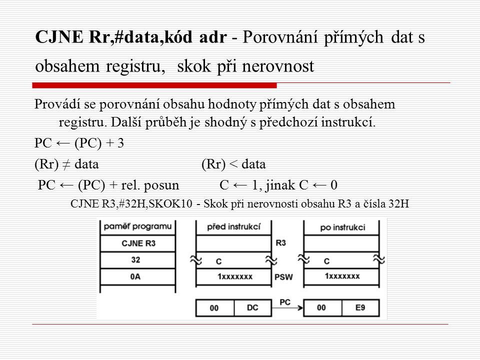 CJNE Rr,#data,kód adr - Porovnání přímých dat s obsahem registru, skok při nerovnost Provádí se porovnání obsahu hodnoty přímých dat s obsahem registru.