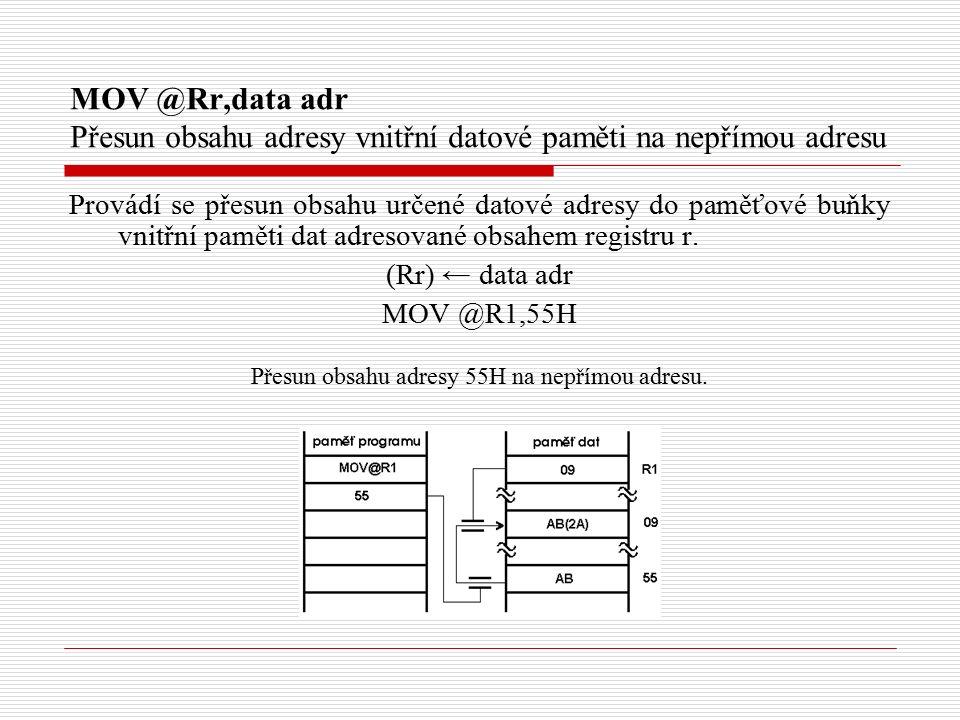 MOV @Rr,data adr Přesun obsahu adresy vnitřní datové paměti na nepřímou adresu Provádí se přesun obsahu určené datové adresy do paměťové buňky vnitřní paměti dat adresované obsahem registru r.