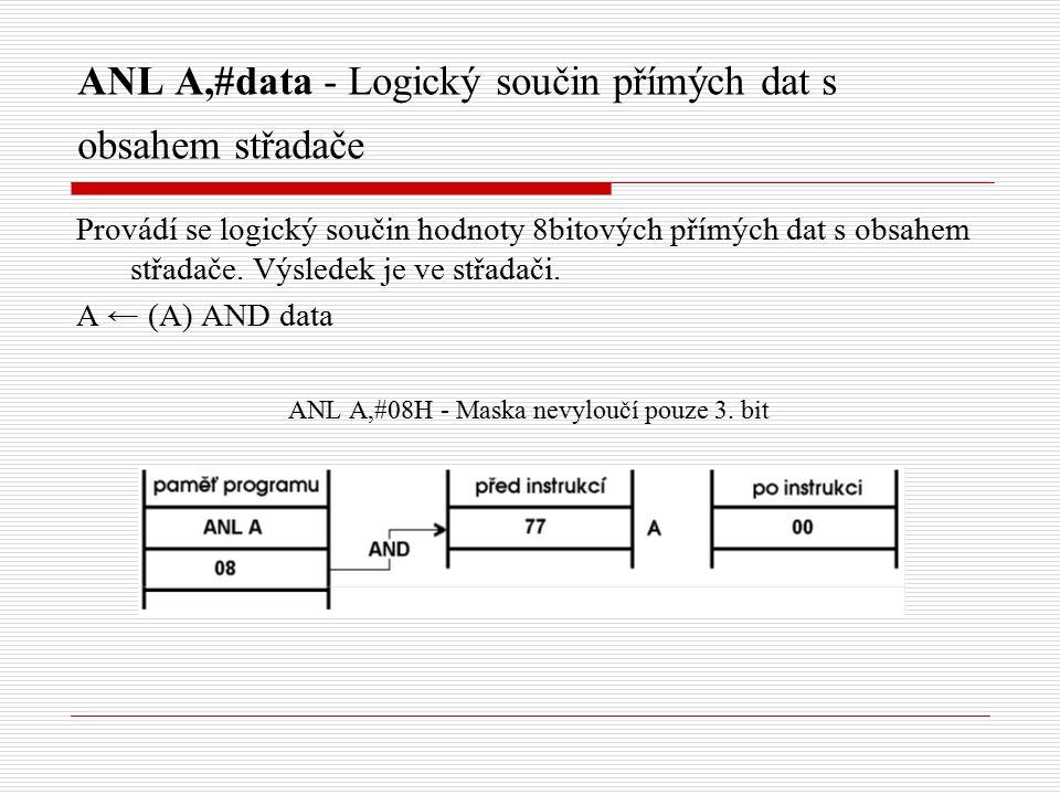 ANL A,#data - Logický součin přímých dat s obsahem střadače Provádí se logický součin hodnoty 8bitových přímých dat s obsahem střadače.