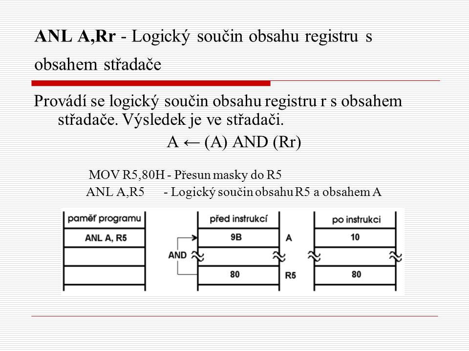 ANL A,Rr - Logický součin obsahu registru s obsahem střadače Provádí se logický součin obsahu registru r s obsahem střadače.