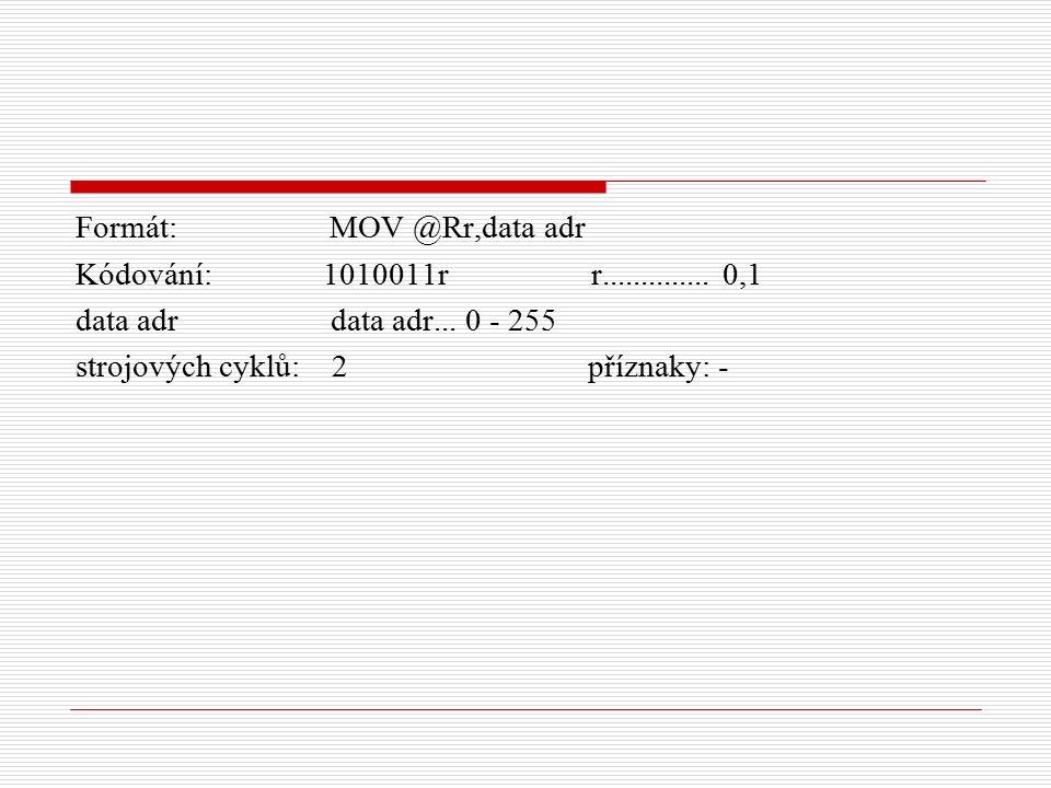 Formát: MOV @Rr,data adr Kódování: 1010011r r..............