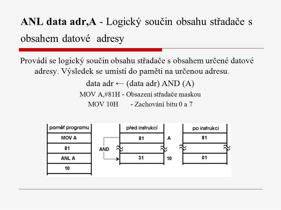 ANL data adr,A - Logický součin obsahu střadače s obsahem datové adresy Provádí se logický součin obsahu střadače s obsahem určené datové adresy.