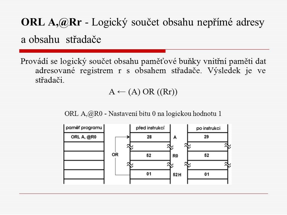 ORL A,@Rr - Logický součet obsahu nepřímé adresy a obsahu střadače Provádí se logický součet obsahu paměťové buňky vnitřní paměti dat adresované registrem r s obsahem střadače.