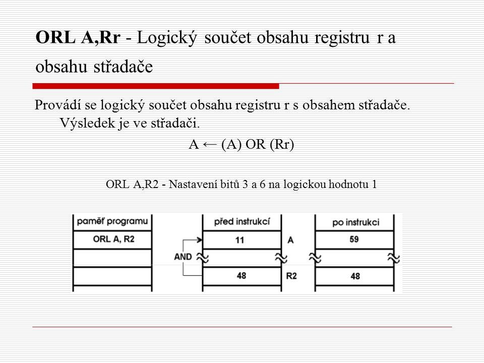 ORL A,Rr - Logický součet obsahu registru r a obsahu střadače Provádí se logický součet obsahu registru r s obsahem střadače.